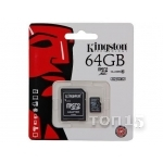 Карты памяти KINGSTON microSDXC 64GB class 10 UHS-I (SDC10G2/64GB)