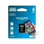 Карты памяти GOODRAM MicroSDHC 4GB Class 4 + SD-adapter (M40A-0040R11)
