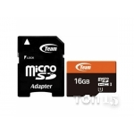 Карты памяти TEAM MICROSDHC 16GB CLASS 10 + ADAPTER (TUSDH16GUHS03)