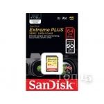 Карты памяти SANDISK  SDHC 64GB EXTREME PLUS CLASS 10 (SDSDXWF-064G-ANCIN)