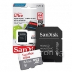 Карты памяти SANDISK MICROSDXC 64GB ULTRA WITH ADAPTER CLASS 10 (SDSQUNS-064G-GN3MA)