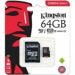 Карты памяти KINGSTON MICROSDXC 64GB CLASS 10 / SD ADAPTER (SDCS/64GB)